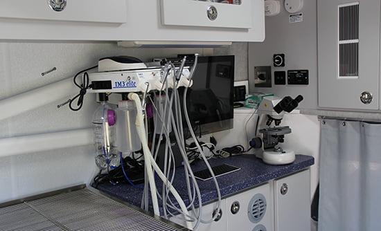 the inside of the mobile vet clinic